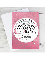 Personalised To The Moon & Back Pink Card