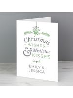 Personalised Couples Mistletoe Card