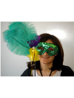Green Feathered And Sequin Mask On A Stick (1)