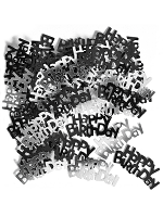 Birthday Glitz Black & Silver Happy Birthday Confetti