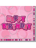 Birthday Glitz Pink - Happy Birthday - Luncheon Napkins