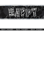 Birthday Glitz Black & Silver Happy Birthday Prism Banner