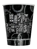 Birthday Glitz Black & Silver Happy Birthday Black Prism Cups
