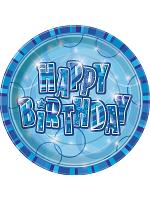 """Birthday Glitz Blue - Happy Birthday Blue Prism 9"""" Plates"""