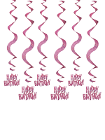 Birthday Glitz Pink - Happy Birthday Pink Hanging Swirl Decoration