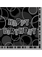 Birthday Glitz Black & Silver Happy Birthday - Luncheon Napkins