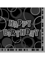 Birthday Glitz Black & Silver Happy Birthday - Luncheon Napkins