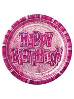 """Birthday Glitz Pink - Happy Birthday Pink Prism 9"""" Plates"""