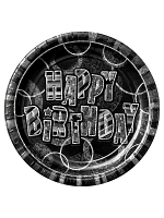 "Birthday Glitz Black & Silver Happy Birthday Black Prism 9"" Plates"