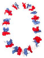 Hawaiian Island Lei Silky Flower Garland - Red - White & Blue