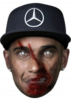 Lewis Hamilton With Cap Zombie - Cardboard Mask