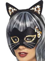 Midnight Kitty Eye Mask and Ear Set,Black