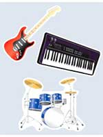 Musical Instrument Cutouts 18 inches (3 in a pack)