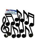 Musical Note Black Silhouettes Printed On Both Sides (12 in a pack)