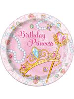 "New Pink Princess Plates 9"""