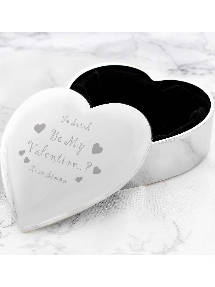Personalised Be My Valentine Heart Trinket Box