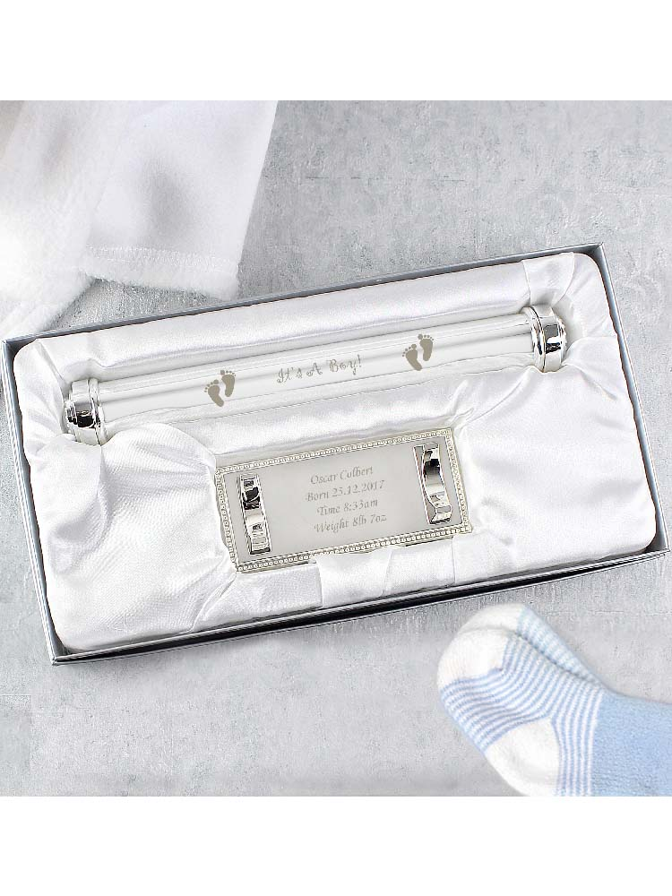Personalised Its A Boy Silver Plated Certificate Holder