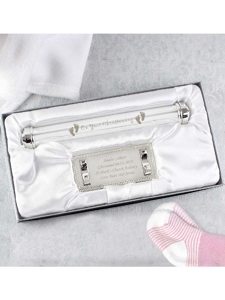 Personalised Christening Silver Plated Certificate Holder
