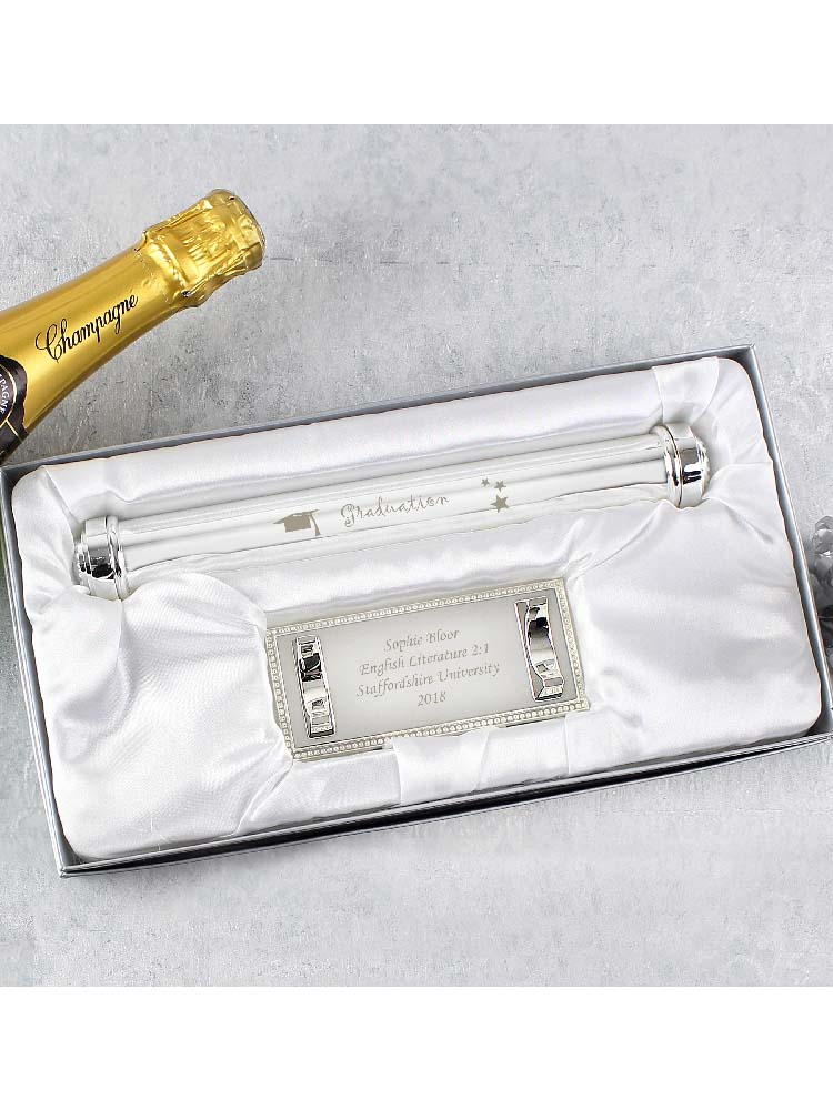 Personalised Graduation Silver Plated Certificate Holder