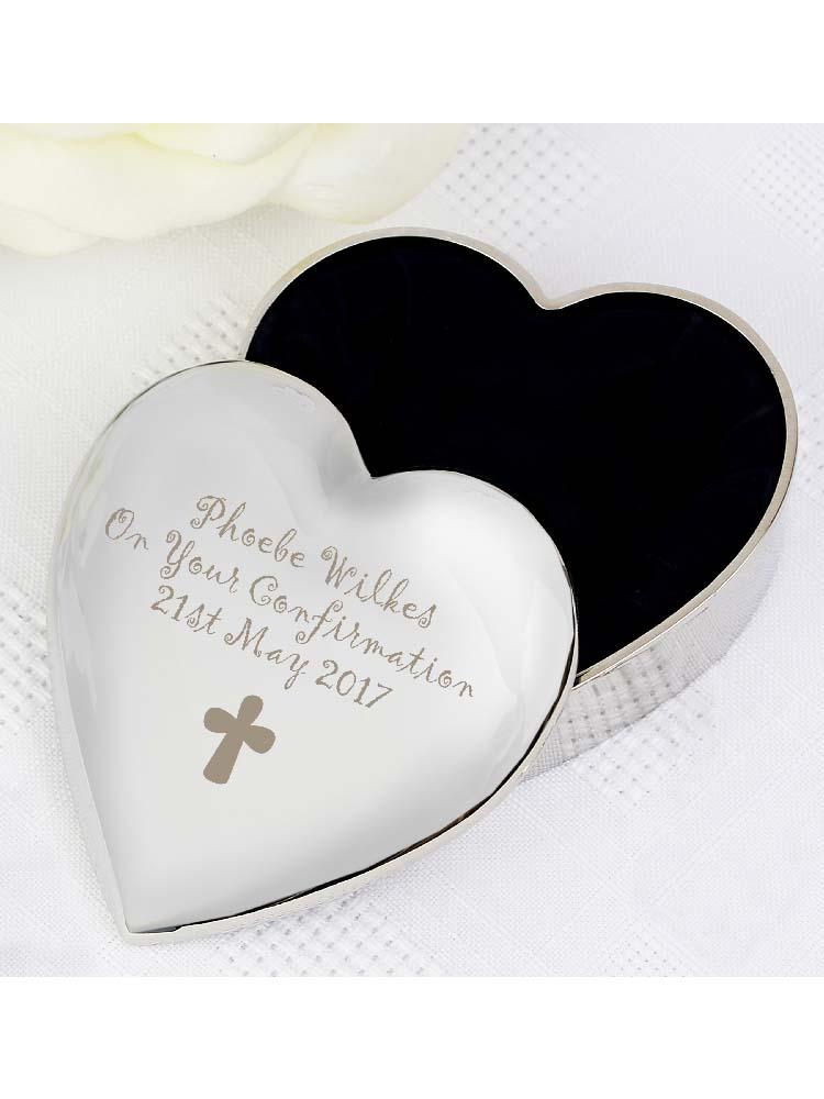 Personalised Cross Heart Trinket Box