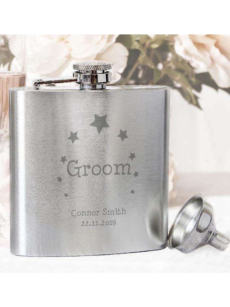 Personalised Stars Groom Hip Flask
