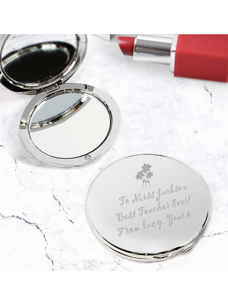 Personalised Flower Teachers Round Compact Mirror