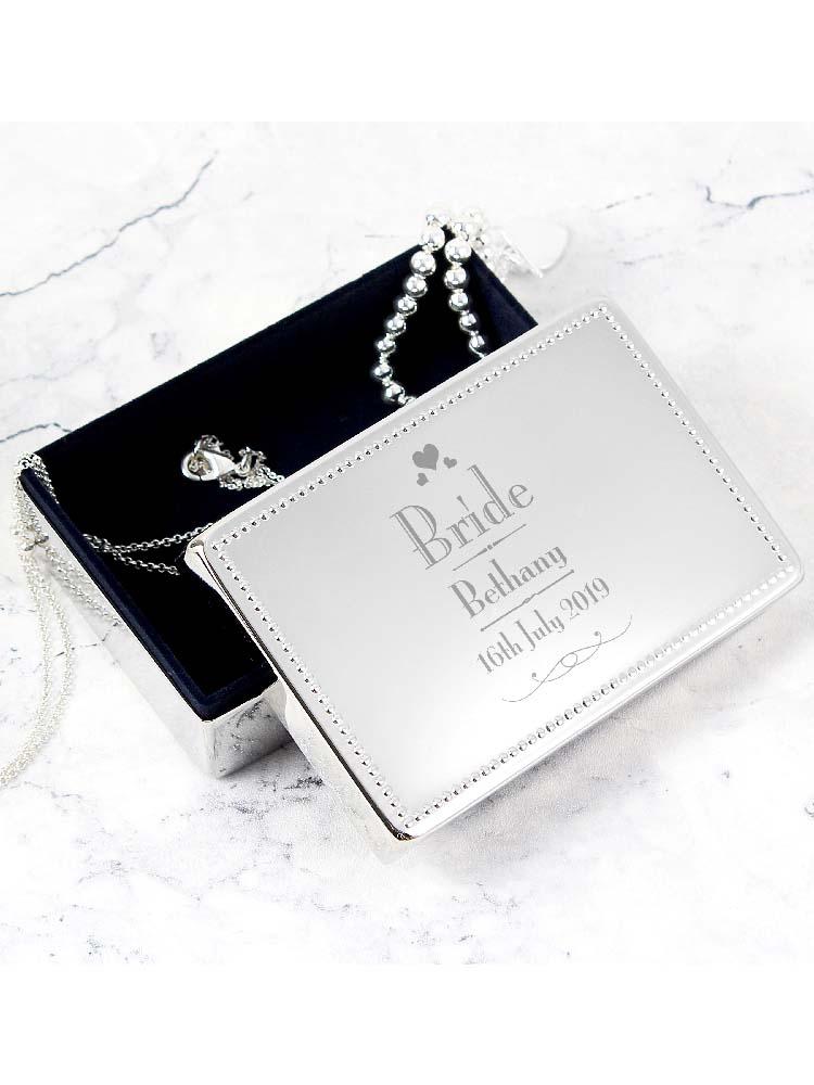 Personalised Decorative Wedding Bride Jewellery Box