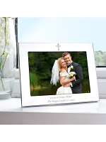 Personalised Silver 7x5 Landscape Cross Photo Frame