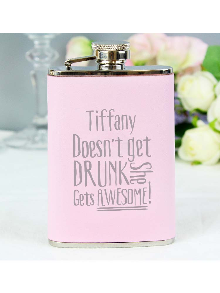 Personalised Get Awesome Pink Hip Flask