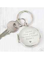 Personalised Heart Motif Round Photo Keyring