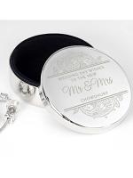 Personalised Paisley Wedding Round Trinket Box