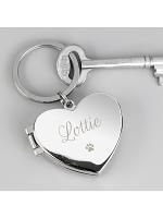 Personalised Paw Print Heart Photo Frame Keyring