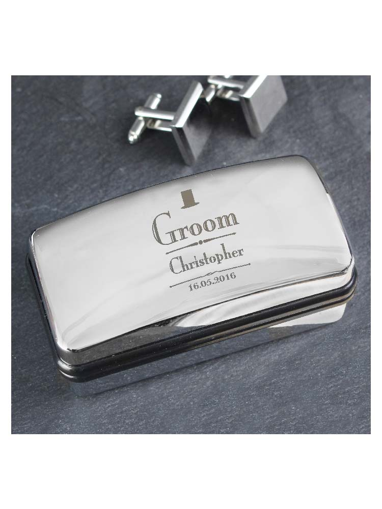 Personalised Decorative Wedding Groom Cufflink Box
