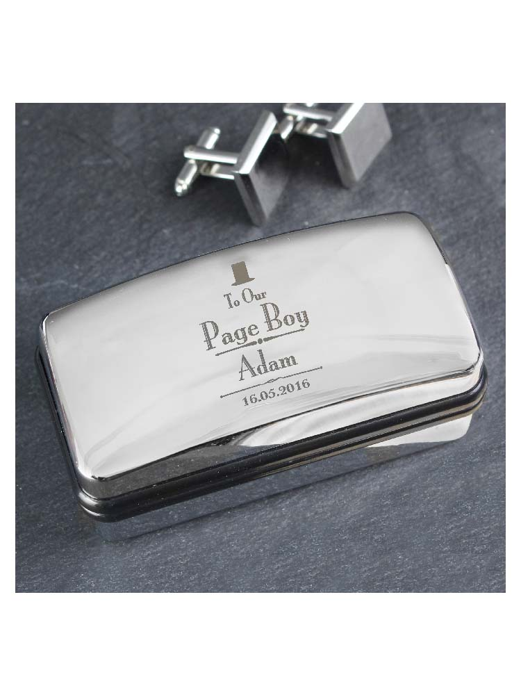 Personalised Decorative Wedding Page Boy Cufflink Box