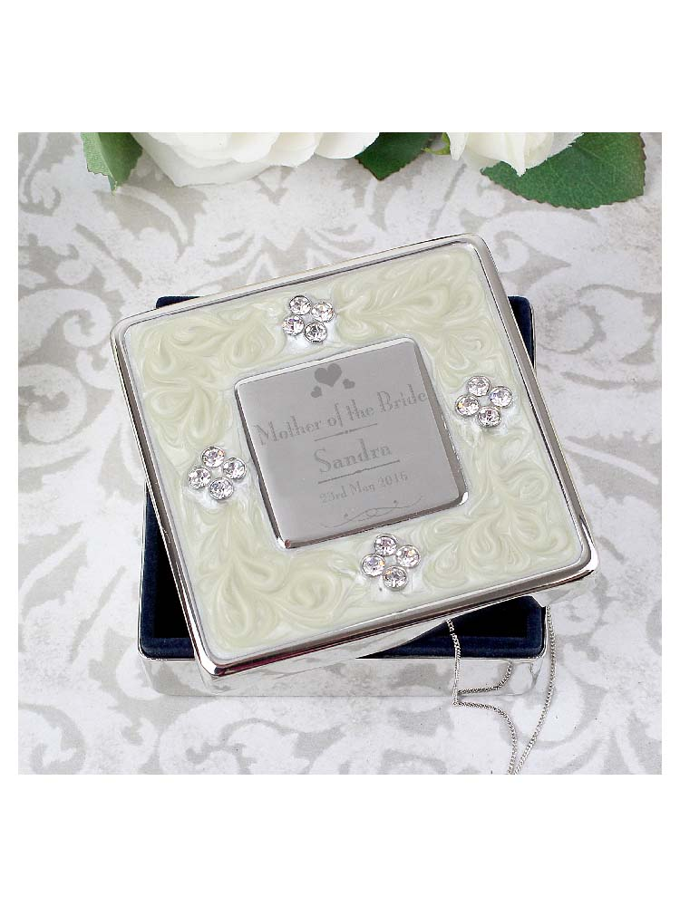 Personalised Decorative Wedding Mother of the Bride Square Diamante Trinket Box