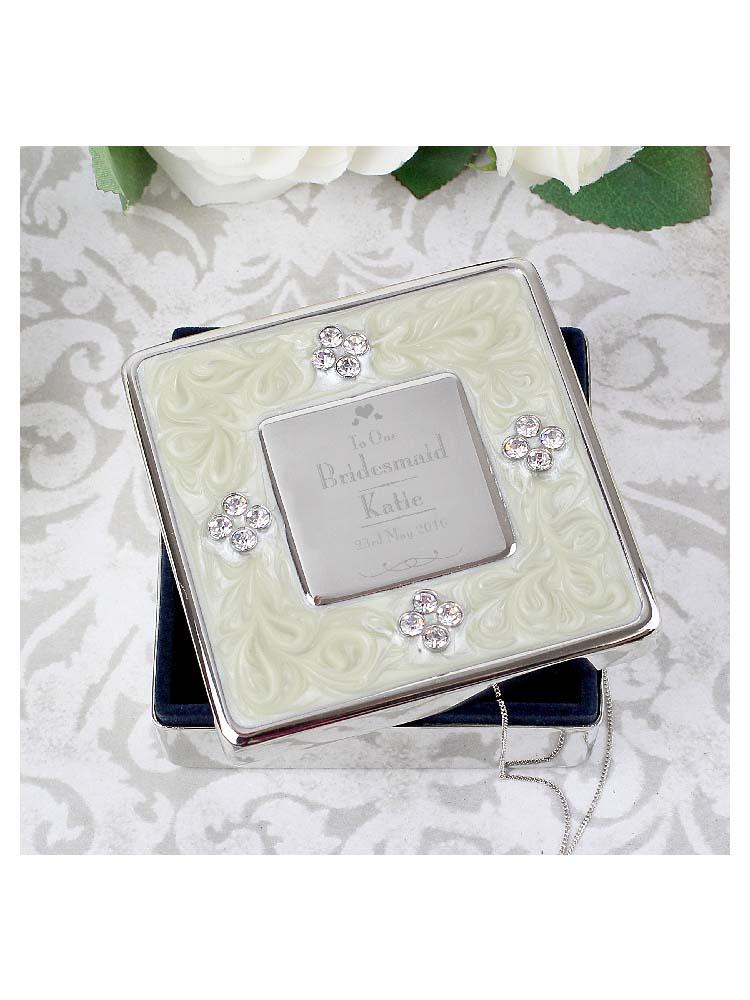 Personalised Decorative Wedding Bridesmaid Square Diamante Trinket Box