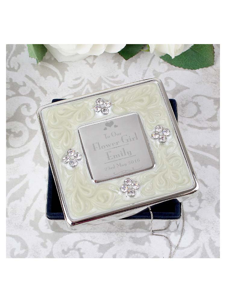 Personalised Decorative Wedding Flower Girl Square Diamante Trinket Box