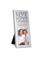 Personalised Small Live Love Laugh 3x2 Silver Photo Frame