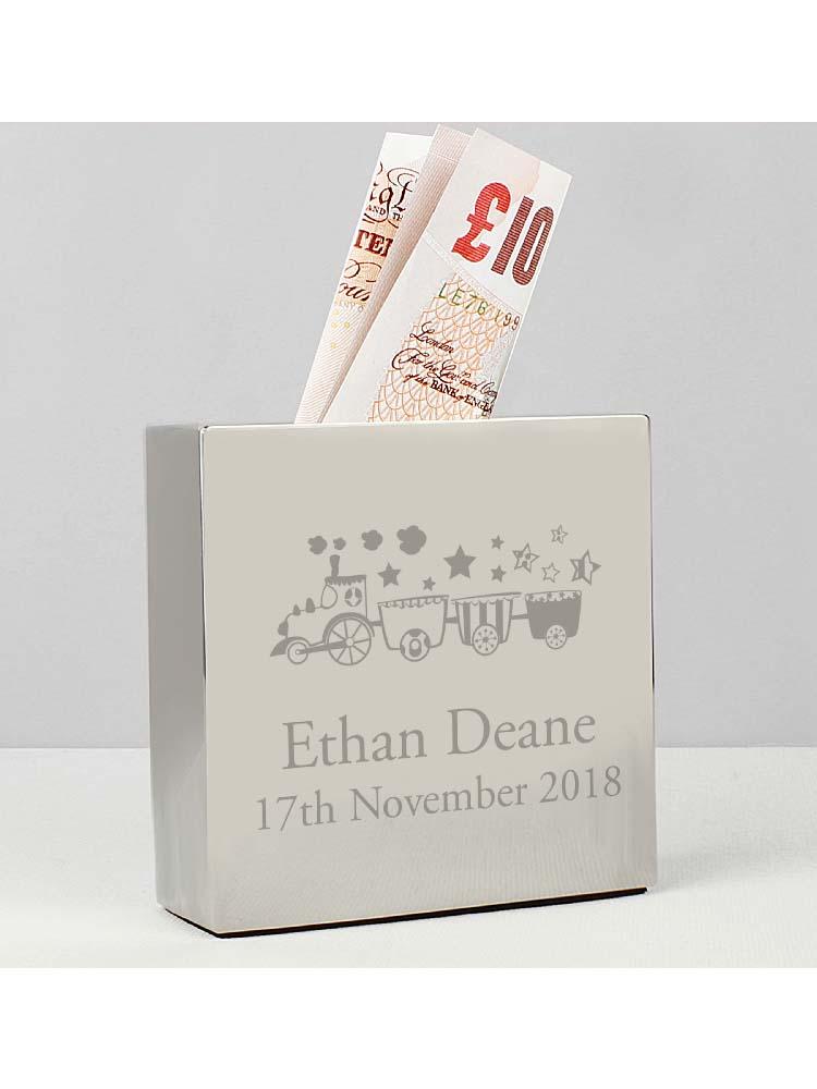 Personalised Train Square Money Box
