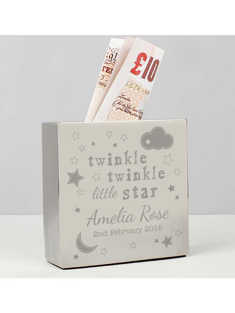 Personalised Twinkle Twinkle Square Money Box