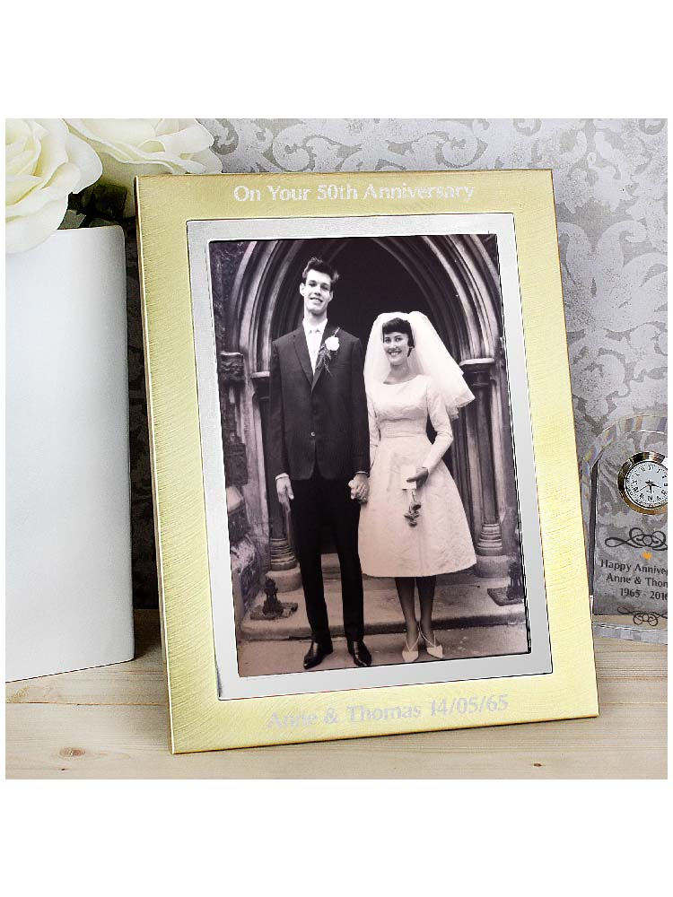 Personalised 7x5 Gold and Silver Brushed Photo Frame
