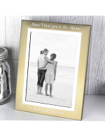 "Personalised Scripted 7""x5"" Gold and Silver Brushed Photo Frame"