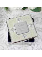 Personalised Swirls & Hearts Square Diamante Trinket Box
