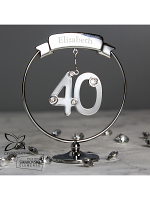 Personalised Name Only Crystocraft 40th Celebration Ornament