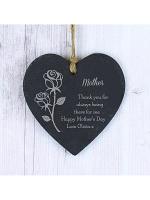 Personalised Rose Slate Heart Decoration