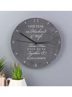 Personalised Anniversary Slate Clock