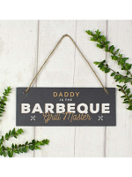 "Personalised """"Barbeque Grill Master"""" Printed Hanging Slate Plaque"
