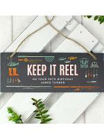 """Personalised """"""""Keep It Reel"""""""" Printed Hanging Slate Plaque"""
