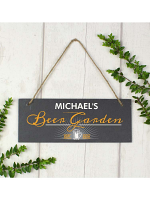 "Personalised """"Beer Garden"""" Printed Hanging Slate Plaque"