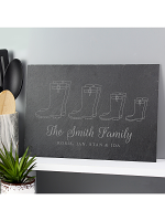 Personalised Welly Boot Family of Four Slate